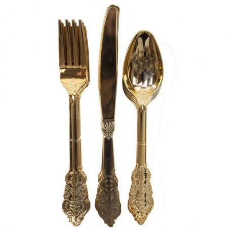 Set Posate Plastica Oro Elegance