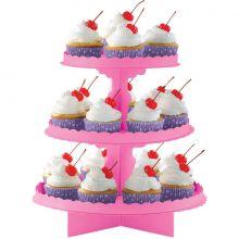 Alzatina per cupcakes Fucsia a 3 piani