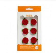 Decorazione Rose Rosse in Zucchero con Foglie ( 6 pz) 2 cm