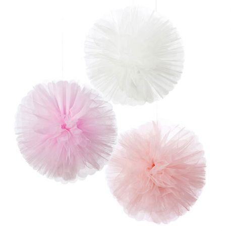 Pom poms in Tulle Mix Rosa
