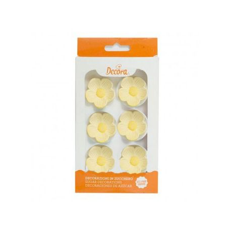 Fiori Gialli in Zucchero Decorazione Torte (6 pz)