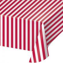 Tovaglia di plastica apois e  righe rosse e bianche