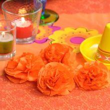 Tovaglioli arancioni per fiori Cempasuchil fai da te