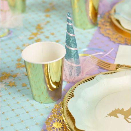Bicchieri di Carta Oro per Festa Unicorno