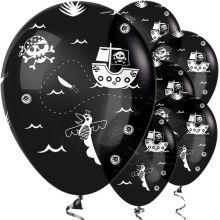 Kit da 6 Palloncini Pirata neri con teschi