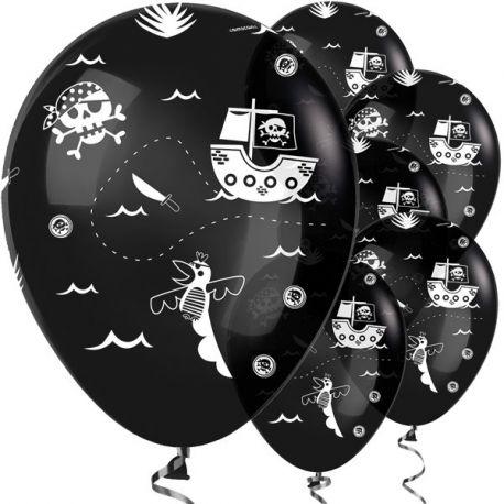 Kit da 9 Palloncini Pirata neri con teschio