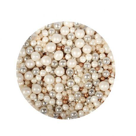 Perle di zucchero Mix Oro Argento e Perla 100 g