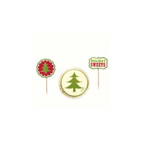 24 Pirottini per Cupcake Albero Natale