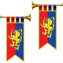 Decorazione tromba araldica con stemma