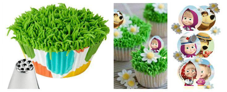 cupcakes masha e Orso erba e Margherite