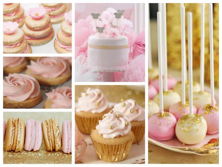 torta dolci rosa oro